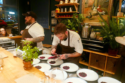 Farm Spirit - careful plating that you can watch and you can talk to the chefs with questions as you sit at a chef's counter
