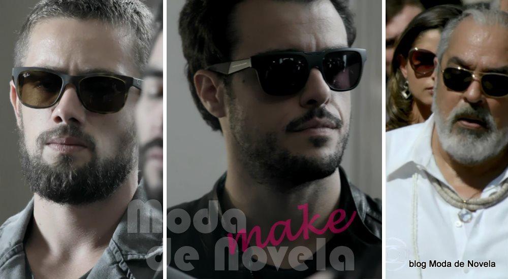 moda da novela Império, os óculos escuros de Vicente, Enrico e Antoninho no enterro do comendador José Alfredo