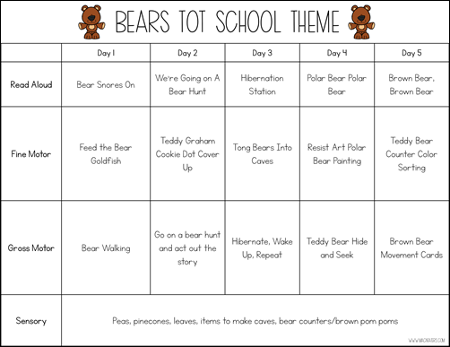 Bear Theme Tot School Plans