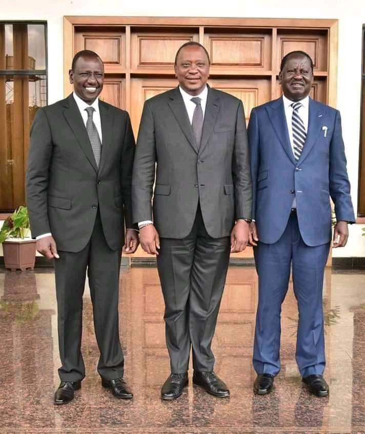 President Uhuru Kenyatta, Raila Odinga William Ruto all at the state that