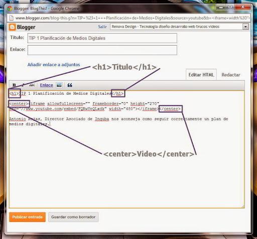Damos clic en Editar HTML y ahora