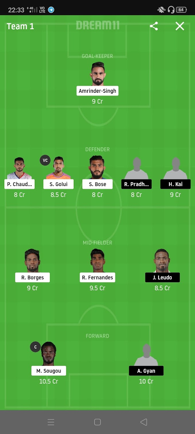 MCFC VS NEUFC Dream11 Football Team and Grand League Team