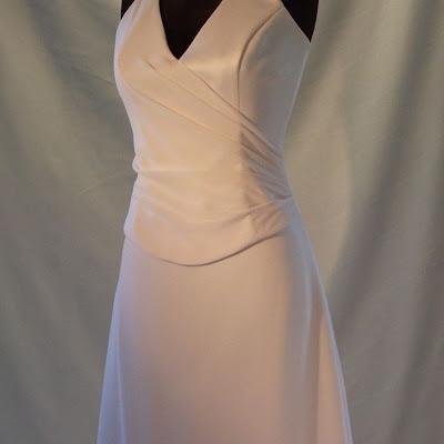 Chiffon Draped Bodice. A-Line Skirt with chiffon overlay