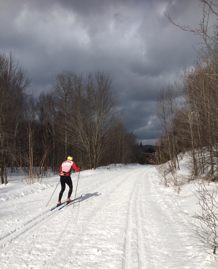 skier passing us on the trail near Piedmont