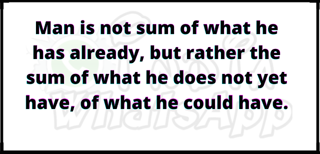 Man is not sum of what he has already, but rather the sum of what he does not yet have, of what he could have.
