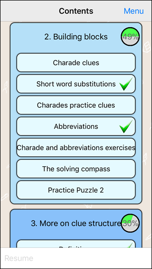 Learn Cryptic Crosswords Content Progress