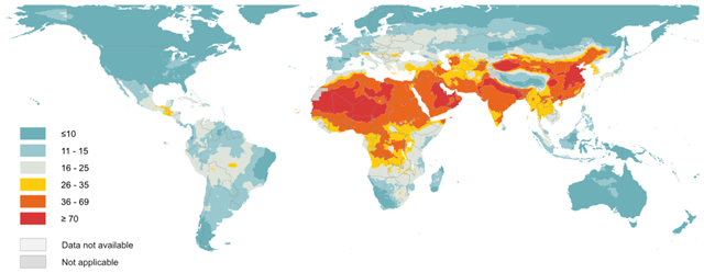 Global map of modelled annual median concentration of fine particulate matter of 2.5 microns or less (PM2.5), in μg per cubic meter. Graphic: WHO