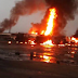 Photos from a fire incident at Ekpan Petrol Tankers park in Warri, Delta state