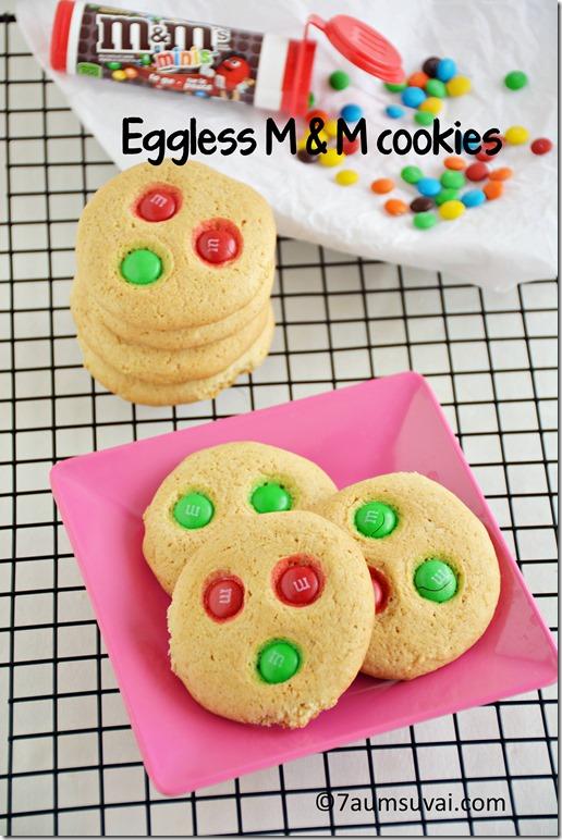 Eggless M & M cookies