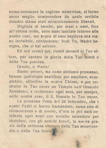 La preghiera della riconoscenza a Maria della popolazione di San Donà alla fine della guerra (1945), dopo il voto del settembre 1943 e 1944 (parte seconda)