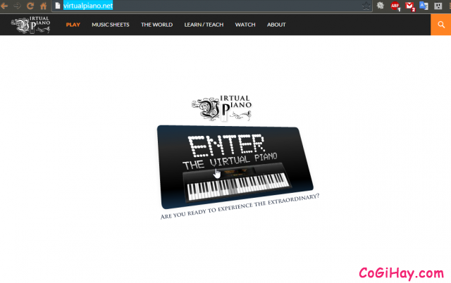 Nhấn Enter để vào chơi đàn Piano