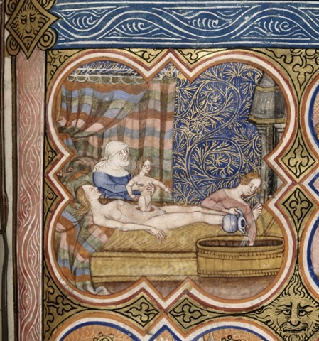 Miniature of the birth of Julius Caesar, showing a female midwife