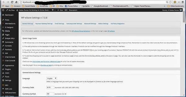 WordPress Shopping Cart Plugin - WPeStore Settings