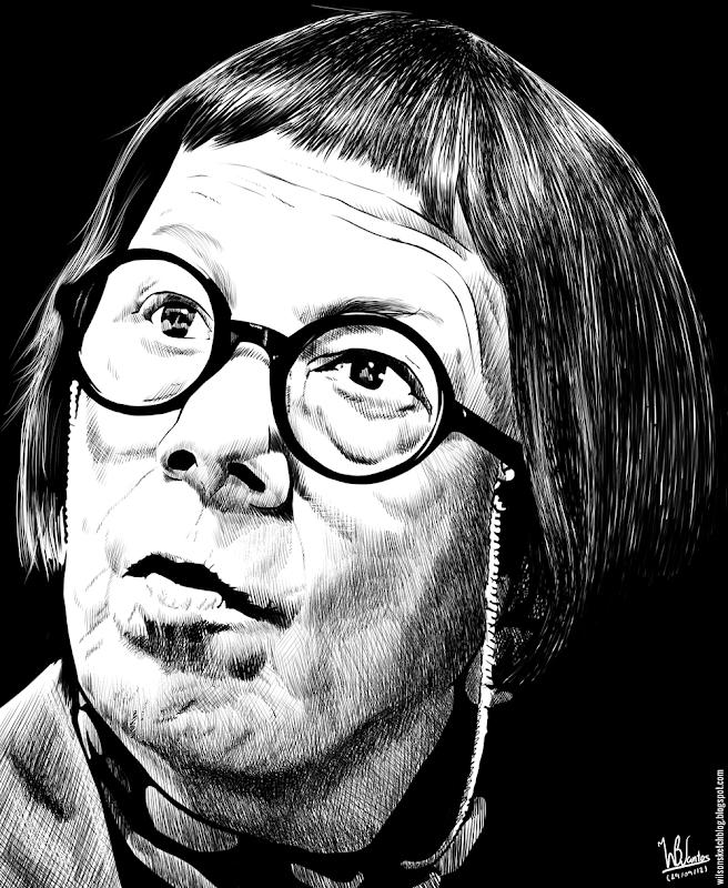 Ink drawing of Linda Hunt, using Krita 2.4.