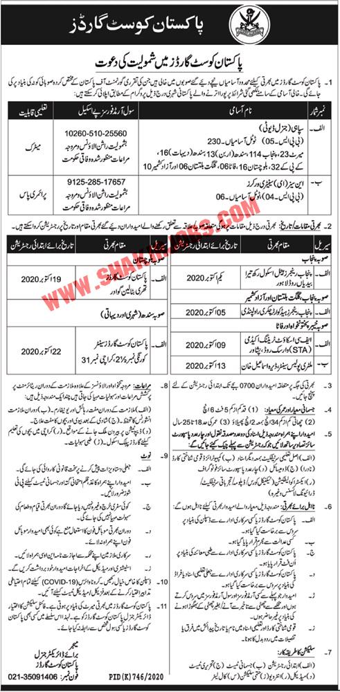 Jobs in Pakistan Coast Guards Jobs September 2020 (236 Posts)