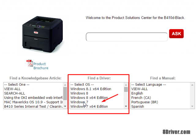 step 2 download OKI B2400n printer driver