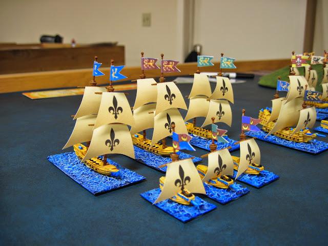 They face off against le Monkey's Bretonnian fleet.