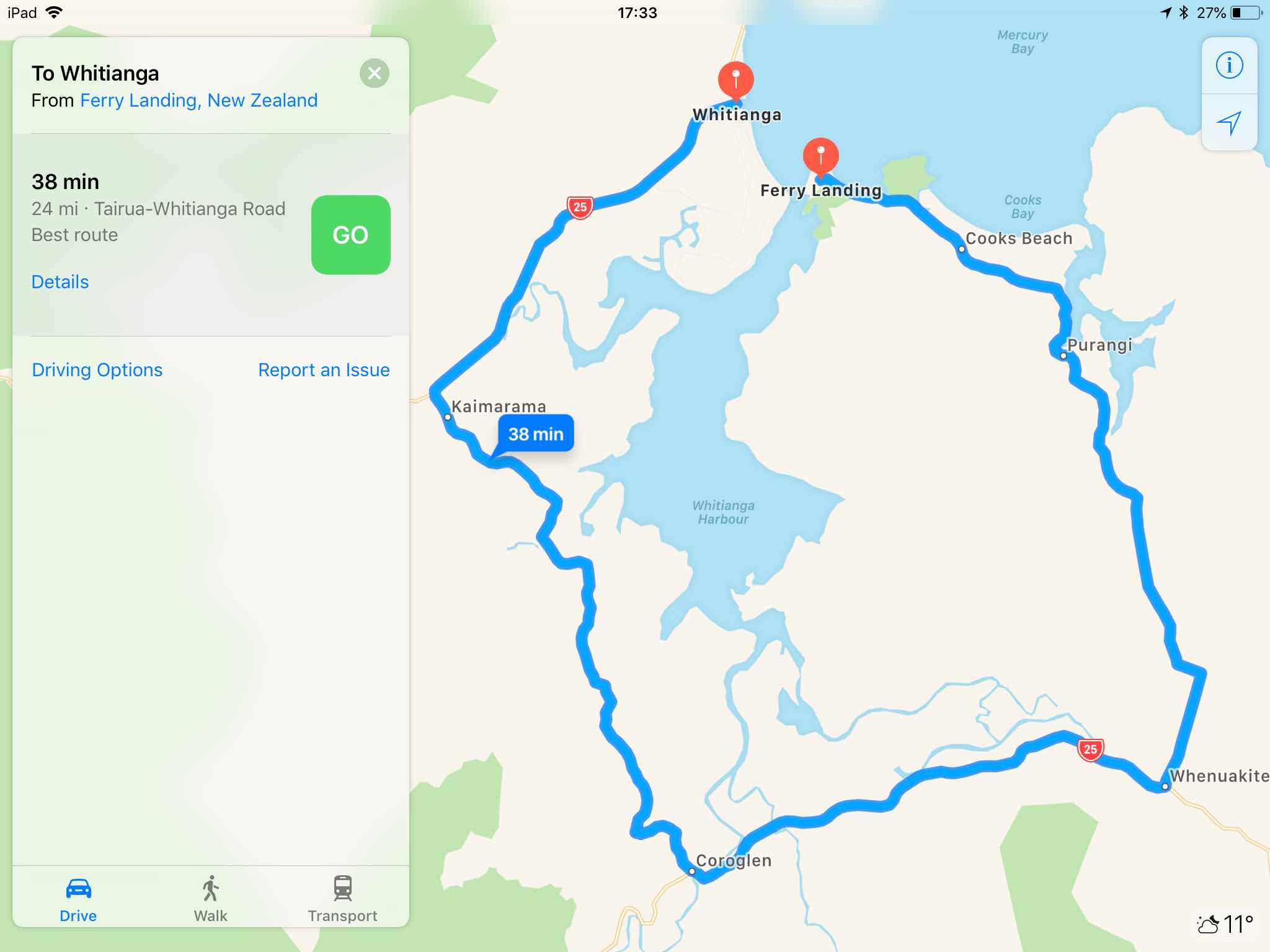 Whitianga to Ferry Landing