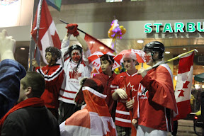 Hockey fans on Granville Street