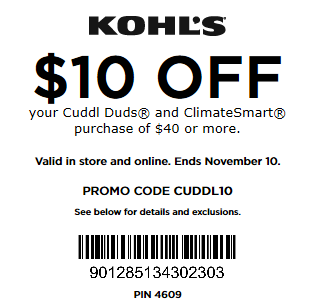 Kohls coupon $10 Off $40+ Cuddl Duds and ClimateSmart