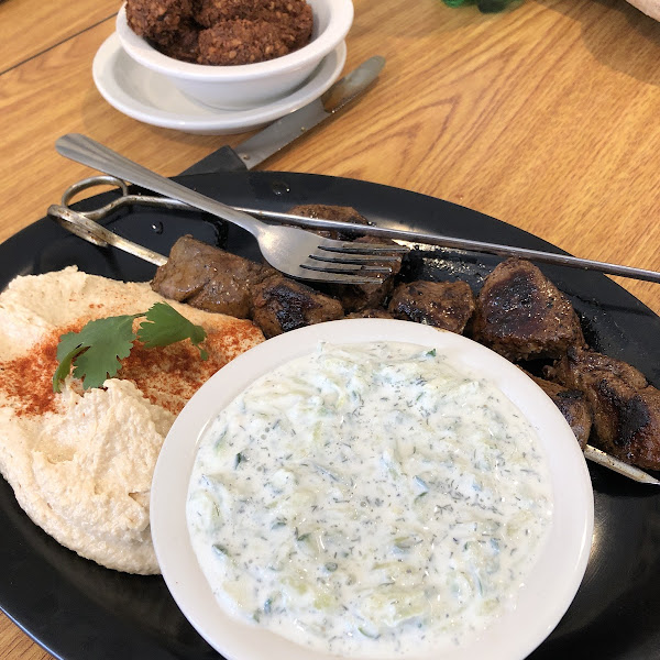 Lamb, hummus, Taziki, falafel!