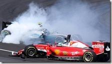 L'incidente tra Vettel e Rosberg alla prima curva