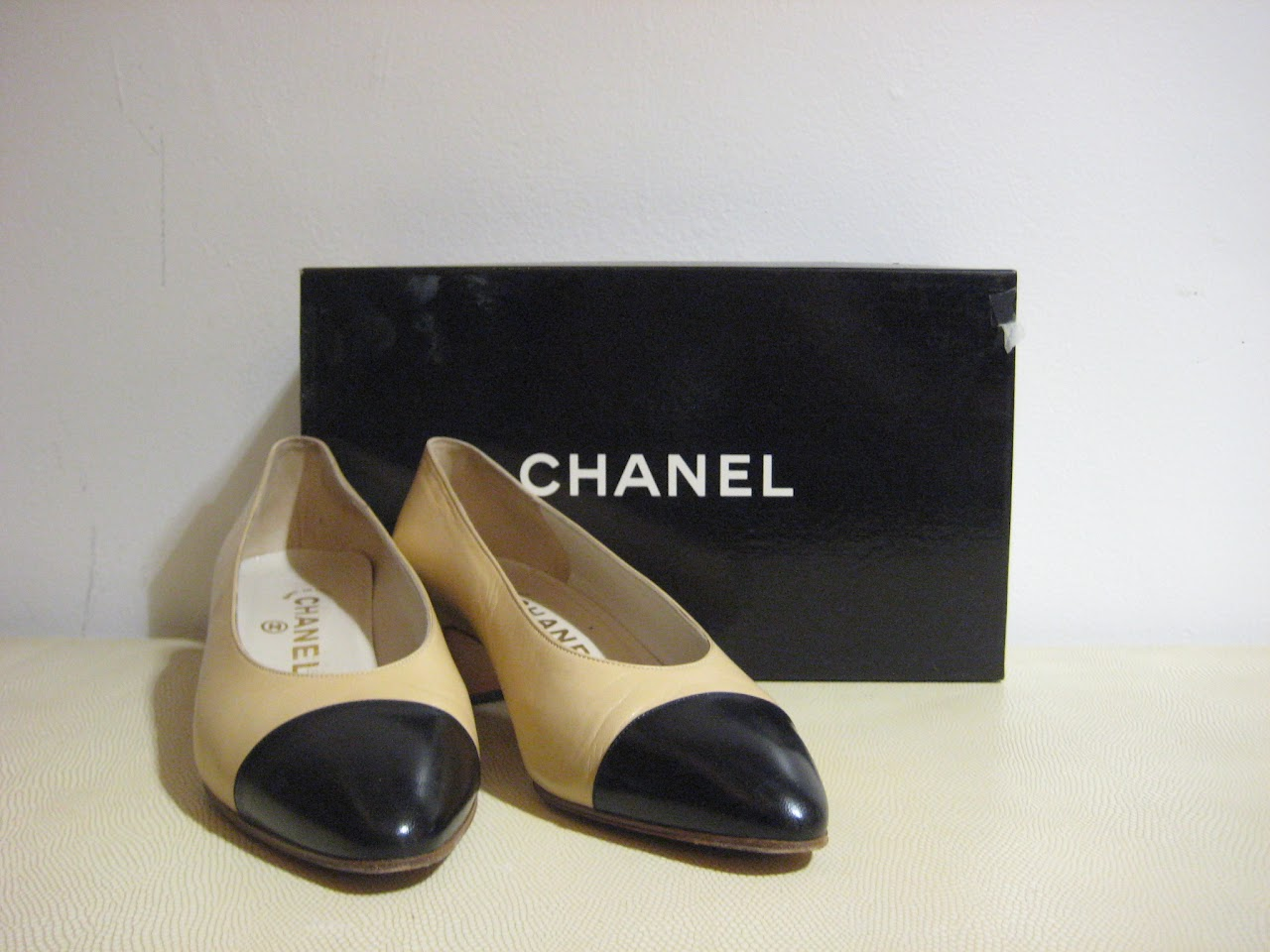Chanel Black and Beige Kitten Heels