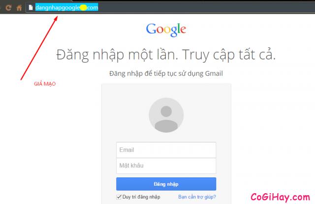 Không nhập tài khoản gmail vào trang giả mạo