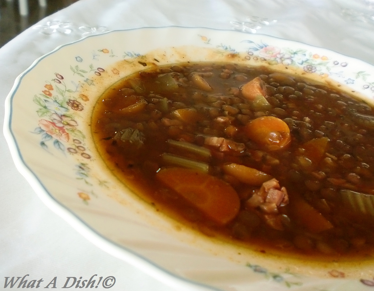 What A Dish!: Slow Cooker Lentil and Ham Soup