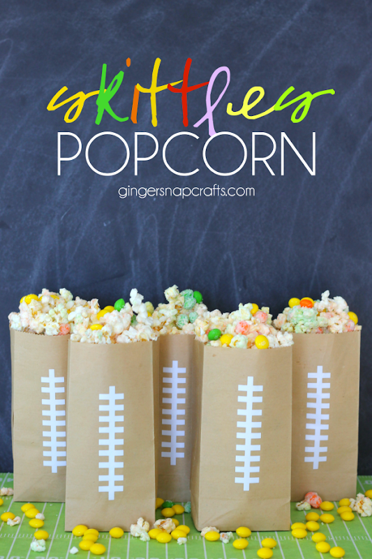 Skittles Popcorn at GingerSnapCrafts.com #popcorn #recipe #yummy