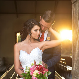 Afternoon Glow by Giselle Hammond - Wedding Bride & Groom ( love, bouquet, bridal portrait, sunset, wedding, wedding dress, beauty, glow, bride, passion, groom )