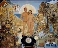 'Die Erschaffung des Menschen, Die Schöpfung 6. Tag,  nach der Musik von Haydn, Öl auf Leinwand, 120x100, 1998