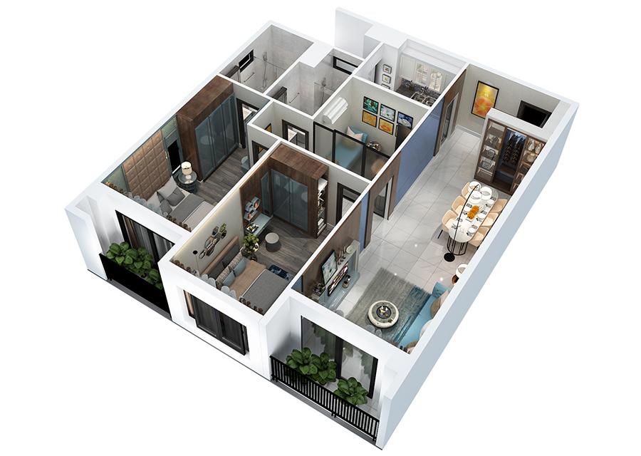 Phối cảnh 3D căn hộ 2 phòng ngủ DT: 98,7m2