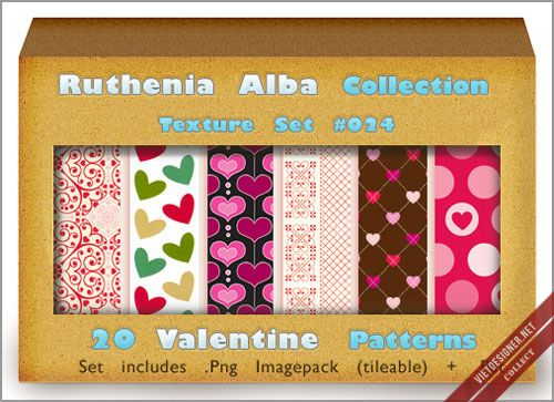 20 Valentine Texture Patterns by Ruthhenia Alba
