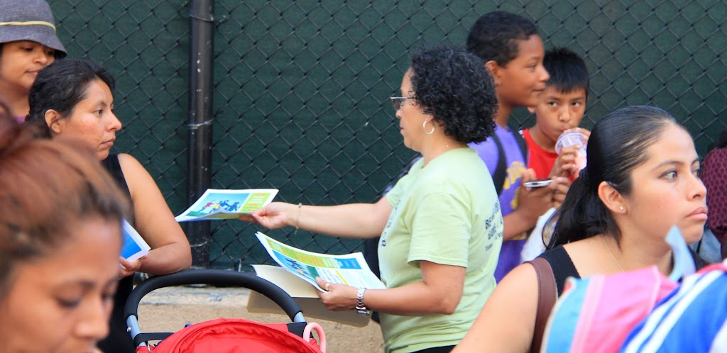 Joined by Debbie Quinones, an organizer of the weekly playground activies at Poor Richard's