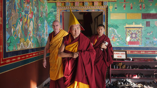 Rinpoche arrives at long life puja, Kopan Monastery Dec 2010