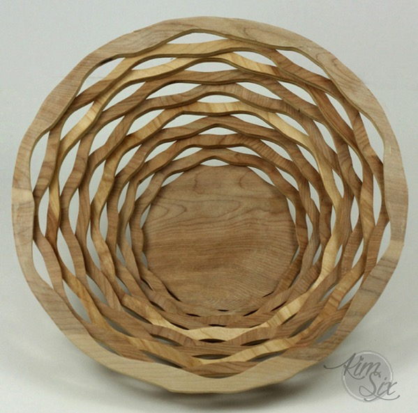 Wavy scroll saw basket from single piece of plywood