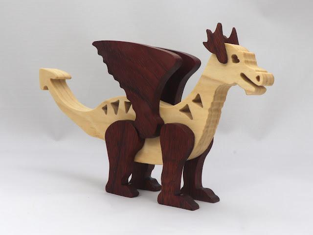 Handmade Wood Toy Dragon Made From Poplar and Walnut Hardwoods 981059690