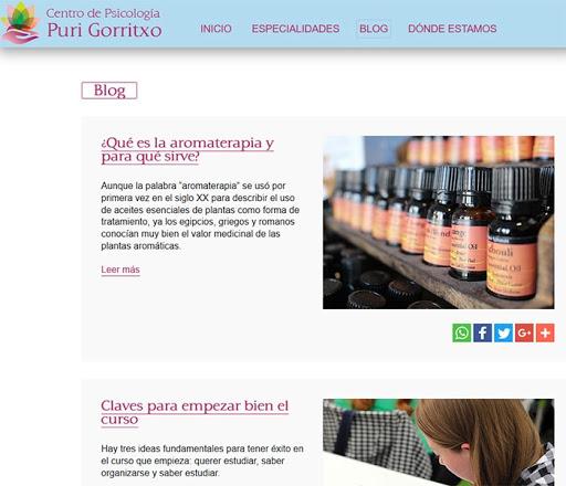 Ejemplo de blog en página web