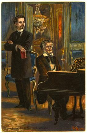 La postal de la época alrededor de 1910, muestra el rey Luis II (Ludwig II) con Richard Wagner, el compositor de Lohengrin y muchas otras óperas románticas, en el piano - Un motivo común múltiplo en postales (© Casa de la Historia de Baviera, Augsburgo)