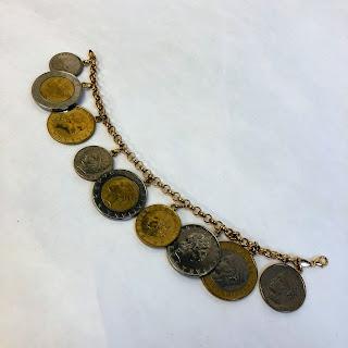 14K Gold Lira Coin Charm Bracelet