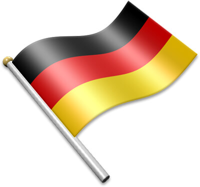 The German flag on a flagpole clipart image