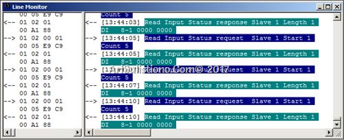 Line Monitor - Data Frame Request & Response antara Relay dan ASE2000 terpantau
