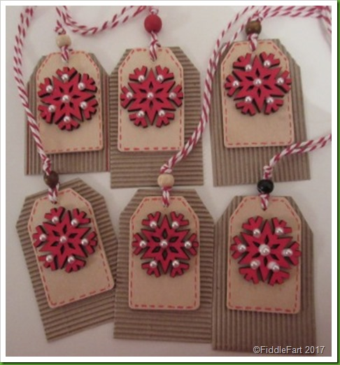 Wooden red snowflake tags with pearls