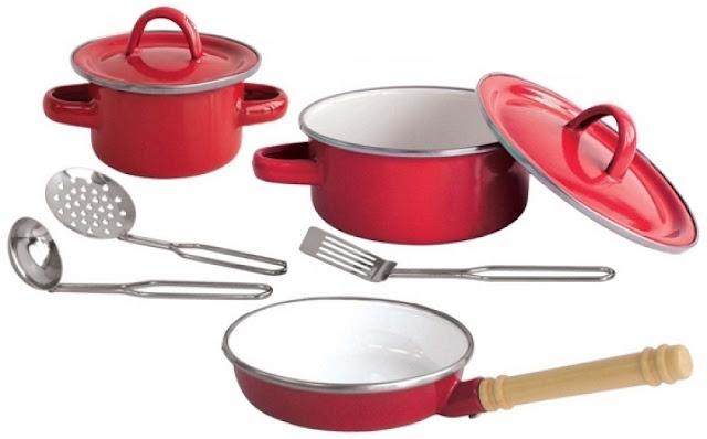 Bộ đồ nấu bếp tráng men 8 món màu đỏ Just For Chef Enamelware Play Set CH2002EM