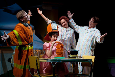 Reed Sigmund, Sara Richardson, Mo Perry and Gerald Drake in Mercy Watson to the Rescue! Photo by Dan Norman.