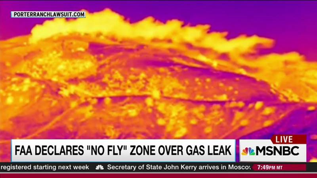 FAA warns planes away from plume of massive natural gas leak in Porter Ranch, California, 14 December 2015, 9:46 PM ET. Photo: MSNBC