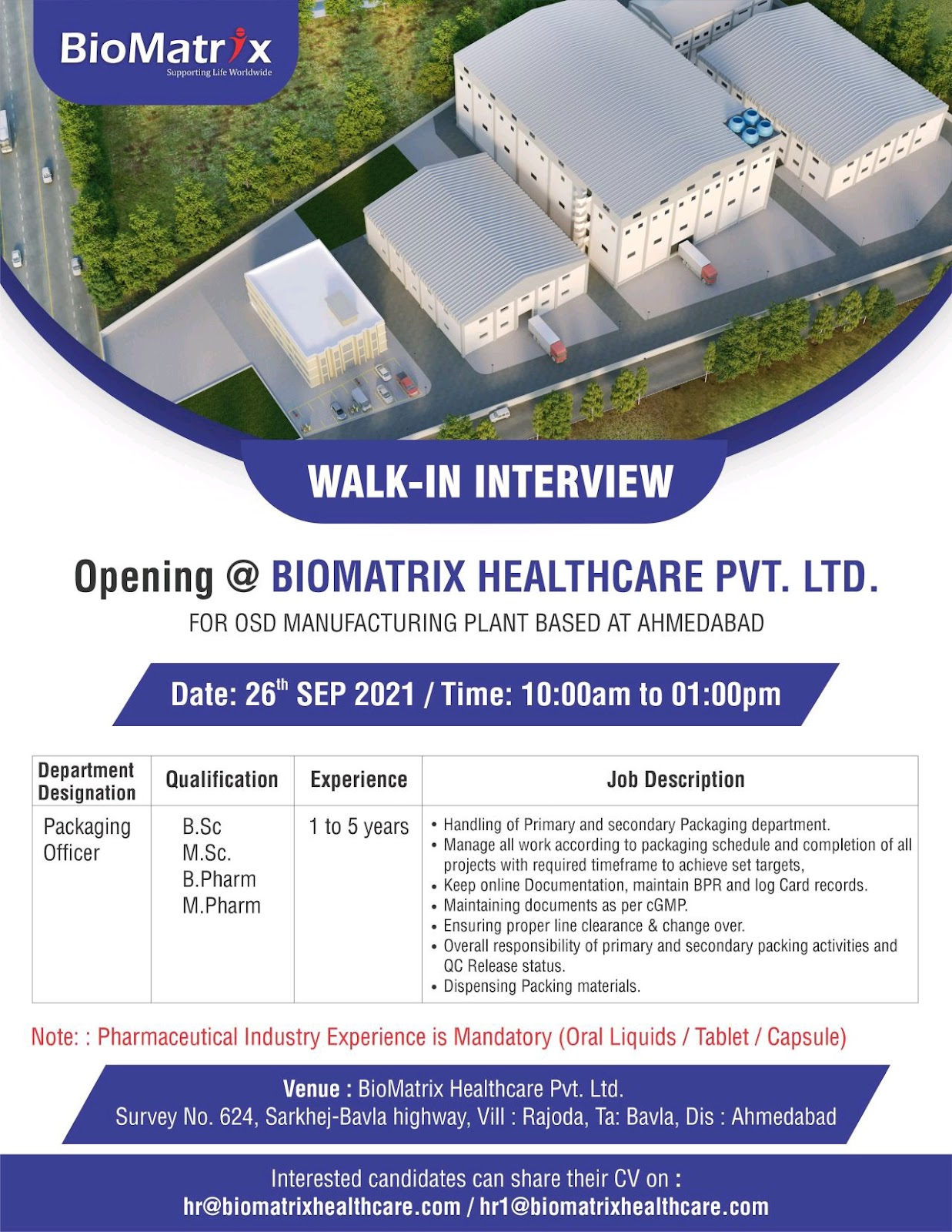 Walk-in For Packaging Officer At Biomatrix Health Care Ltd