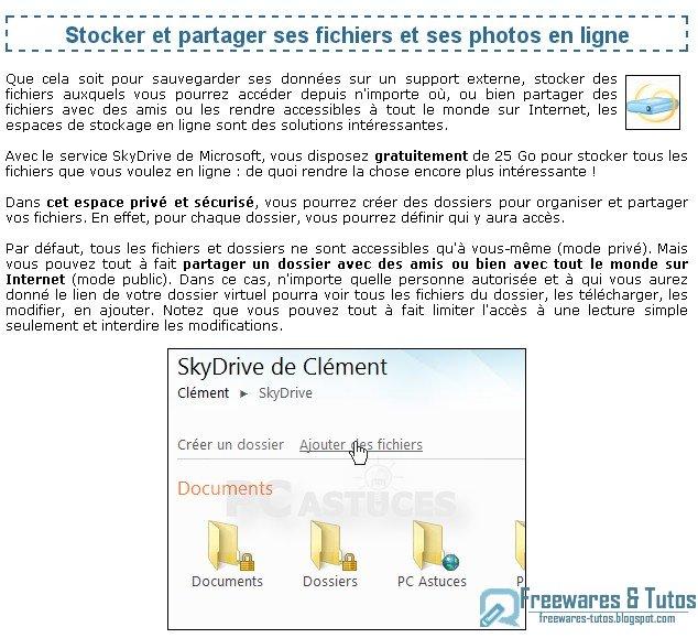 Le site du jour : Stocker et partager ses fichiers et ses photos en ligne avec SkyDrive