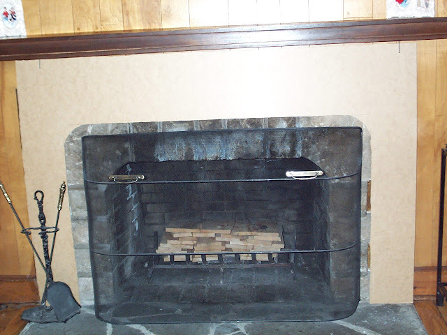 A Lapin Life Living Room Fireplace Mantel and Wood